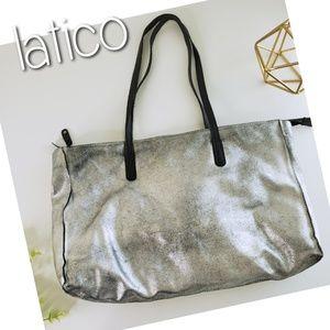 LATICO silver metallic leather large tote bag